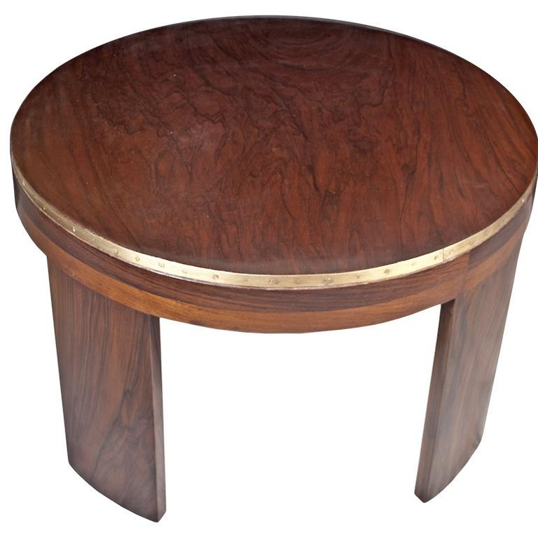 Mid-Century Modern Teak Wood Coffee or Drinks Table with Brass Border In Good Condition For Sale In Nantucket, MA