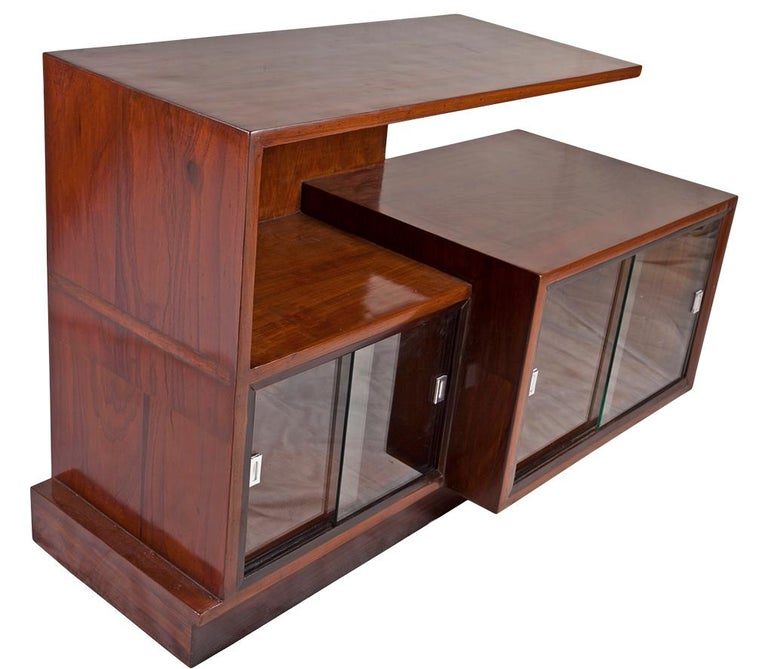 Mid-Century Modern Midcentury Modern Teak Wood Credenza Shelves with Glass Panels For Sale
