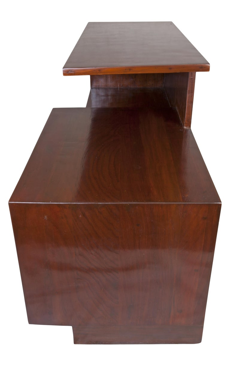 Midcentury Modern Teak Wood Credenza Shelves with Glass Panels In Good Condition For Sale In Nantucket, MA