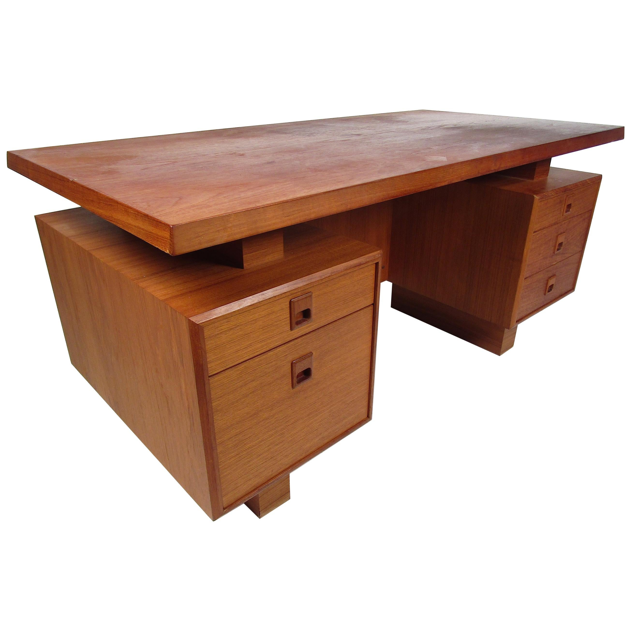 Mid-Century Modern Teak Writing Desk with a Finished Back