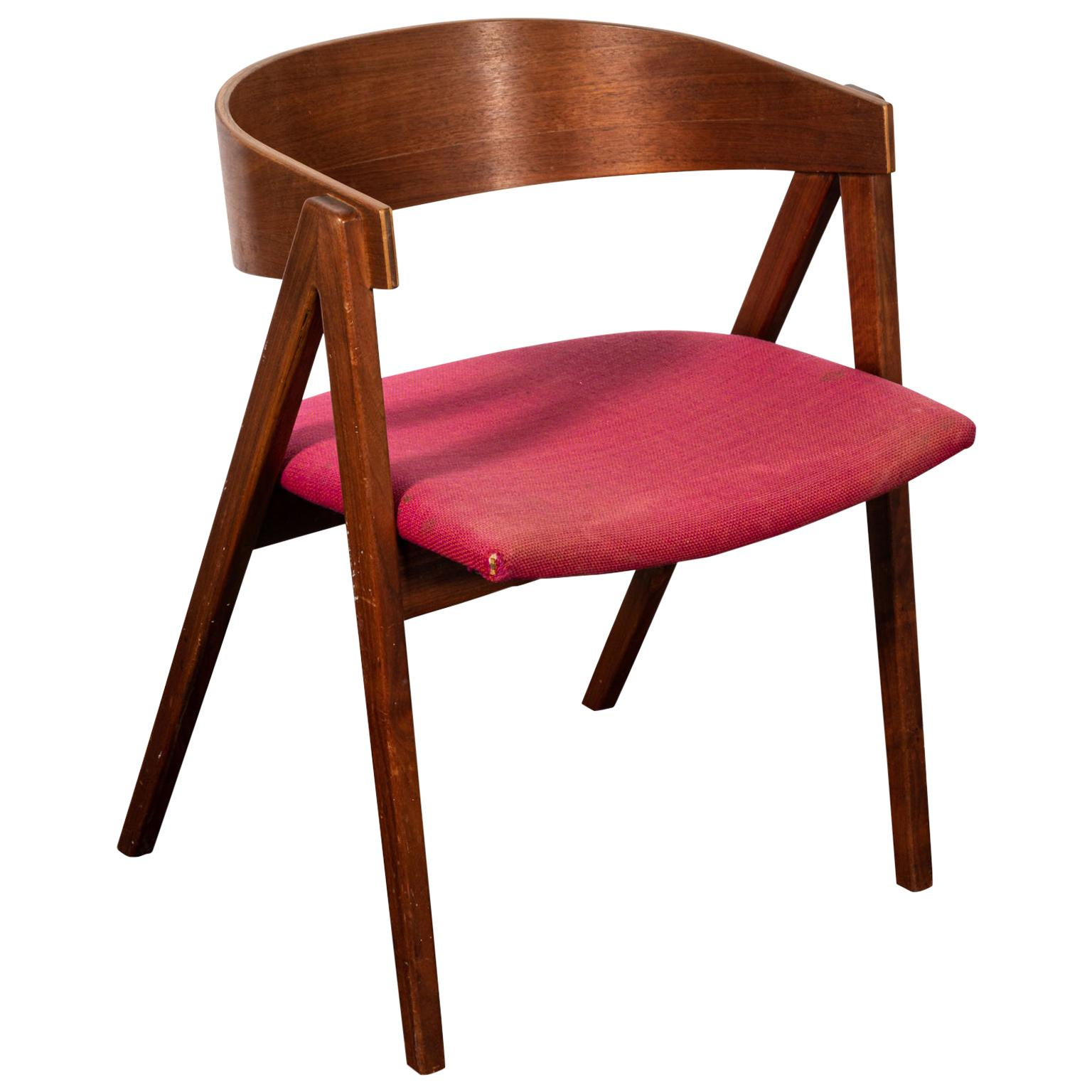 Mid-Century Modern Teakwood Upholstered Armchair