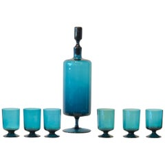 Mid-Century Modern Teal Blue Blown Glass Decanter & Set of 6 Petite Stem Glasses