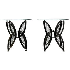 Mid-Century Modern Tempestini Salterini Butterfly Patio Pair of Side Tables