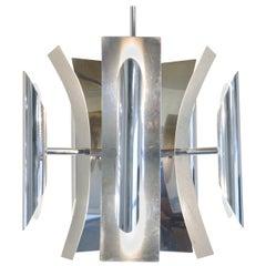 Mid-Century Modern Ten-Light Chandelier in Aluminum or Stainless, 1960s