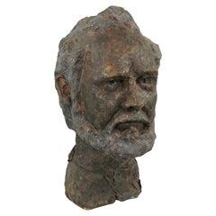 Mid-Century Modern Terracotta Bust of a Beard Man