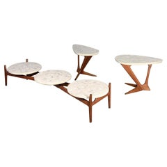 Mid-Century Modern Terrazzo and Walnut Table Set