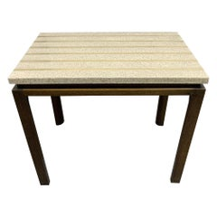 Mid-Century Modern Terrazzo Top with Brass Inlay Side Table