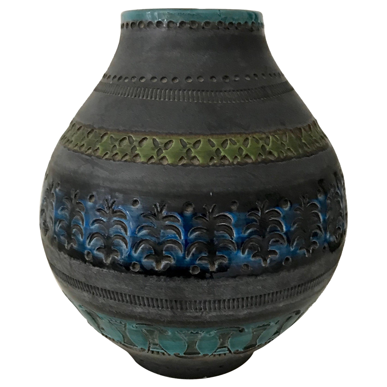 Mid Century Modern Ceramic Vase by Aldo Londi for Bitossi, Italy, 1960's