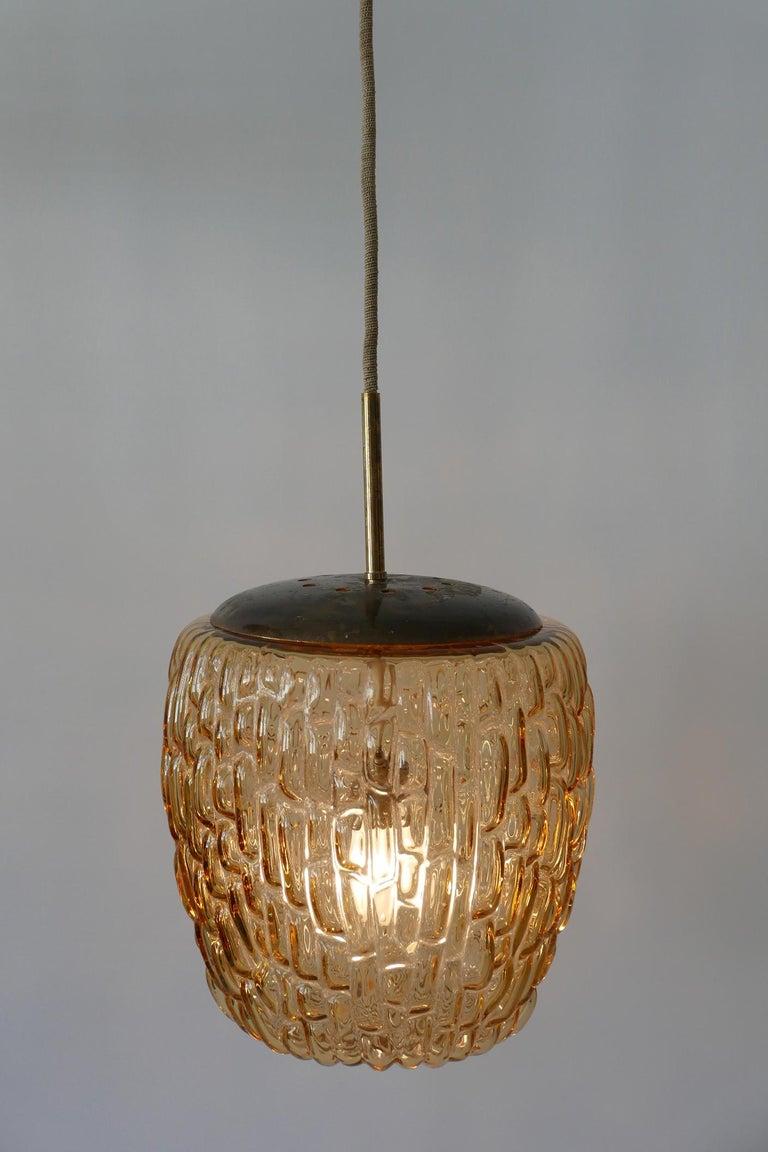 Mid Century Modern Textured Glass Pendant Lamp By Rupert Nikoll 1950s Austria