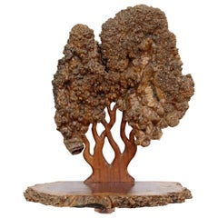 Mid-Century Modern Textured Tree of Life Studio Made Burl Wood Table Sculpture