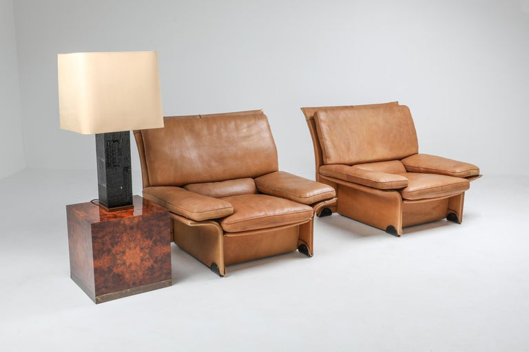 Mid-Century Modern Thick Camel Leather Club Chairs by Brunati, Italy 5