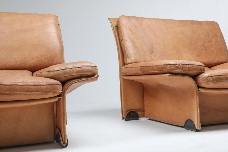 Mid-Century Modern Thick Camel Leather Club Chairs by Brunati, Italy 6