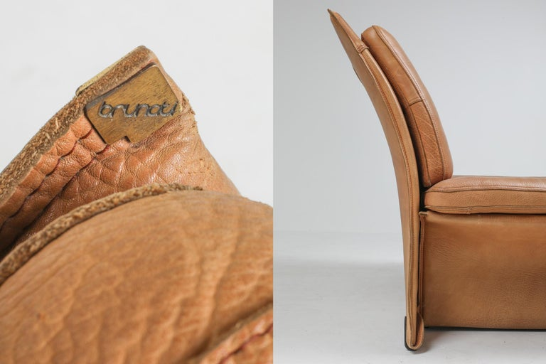 Mid-Century Modern Thick Camel Leather Club Chairs by Brunati, Italy 8