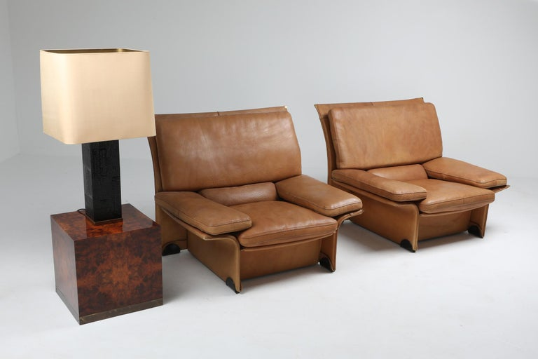 Mid-Century Modern Thick Camel Leather Club Chairs by Brunati, Italy 9