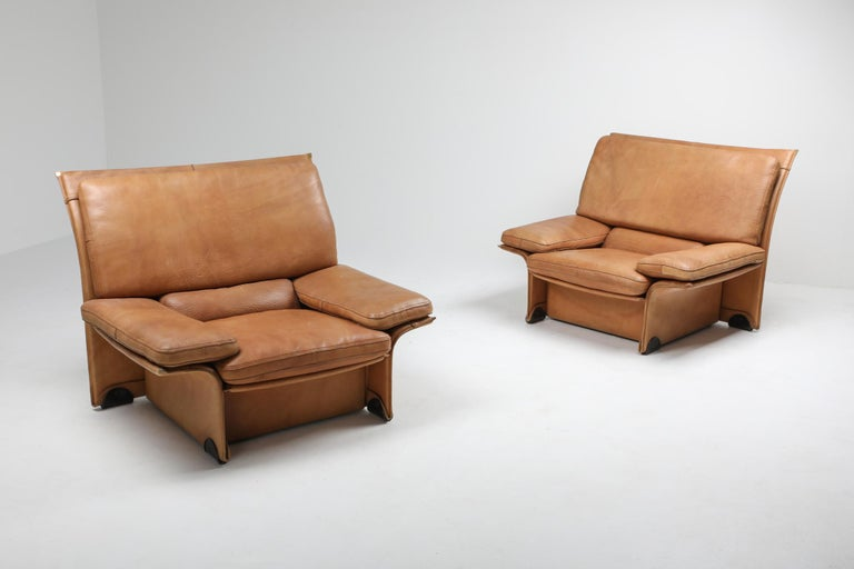 European Mid-Century Modern Thick Camel Leather Club Chairs by Brunati, Italy