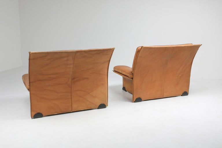 Mid-Century Modern Thick Camel Leather Club Chairs by Brunati, Italy In Good Condition In Antwerp, BE