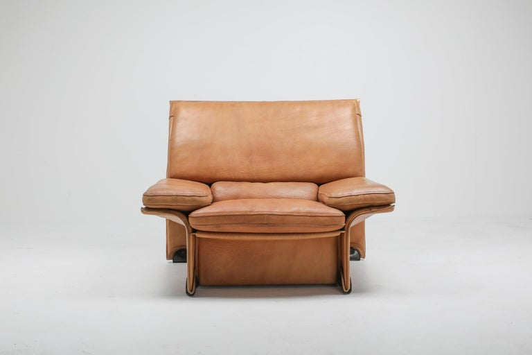 20th Century Mid-Century Modern Thick Camel Leather Club Chairs by Brunati, Italy