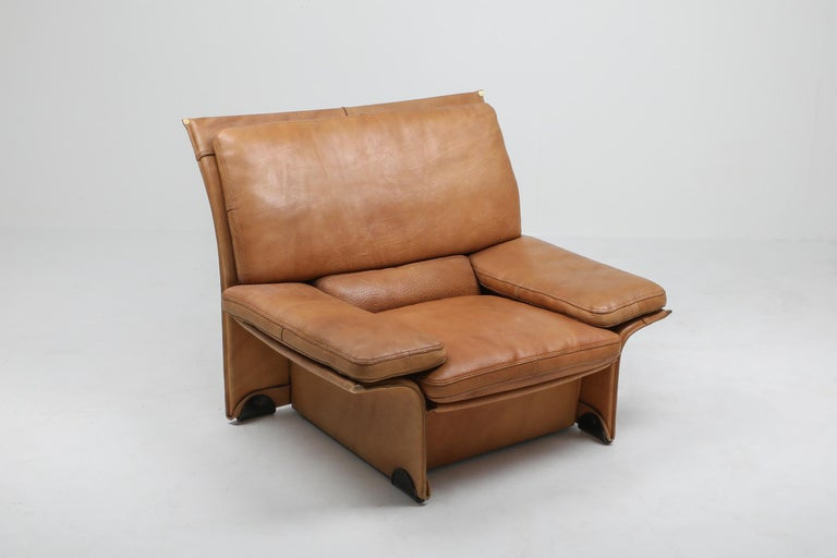 Mid-Century Modern Thick Camel Leather Club Chairs by Brunati, Italy 2