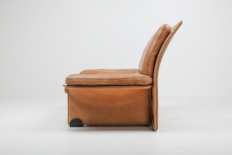 Mid-Century Modern Thick Camel Leather Club Chairs by Brunati, Italy 3