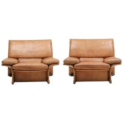 Mid-Century Modern Thick Camel Leather Club Chairs by Brunati, Italy