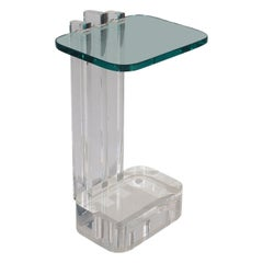 Mid-Century Modern Thick Lucite and Glass Side Table by Les Prismatiques