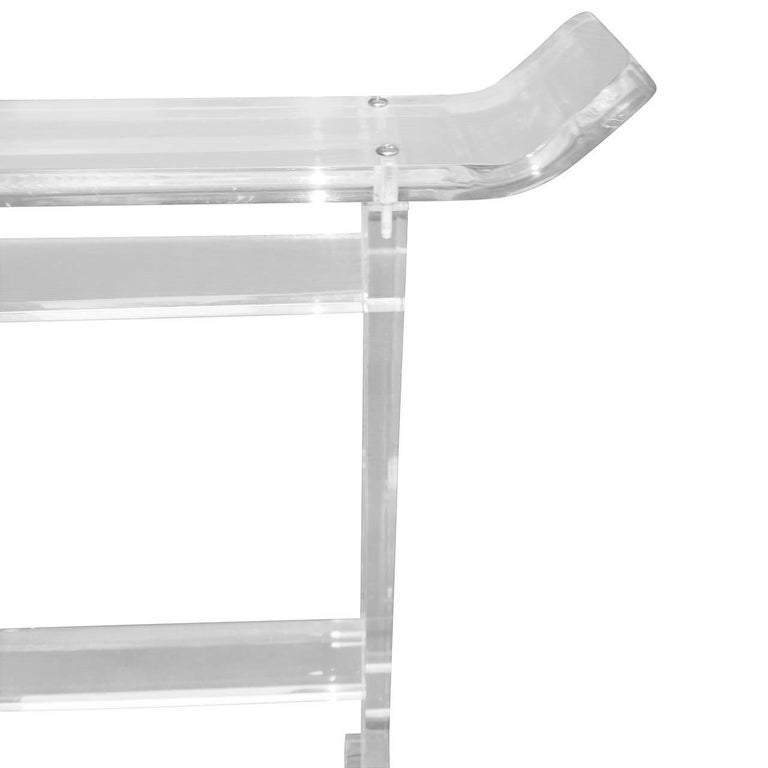 Mid-Century Modern Thick Lucite Towel Rack For Sale 3