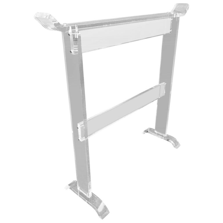 Mid-Century Modern Thick Lucite Towel Rack For Sale
