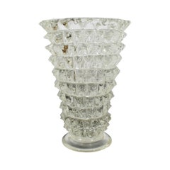 Mid-Century Modern Thick Spiked Murano Glass Art Vase Table Sculpture, Italy