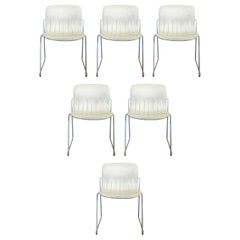 Mid-Century Modern Thonet Attiva Jerome Caruso Set 6 White Stacking Chairs 1960s