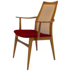 Mid-Century Modern Thonet Beechwood Woven Cane Vintage Armchair, 1950s