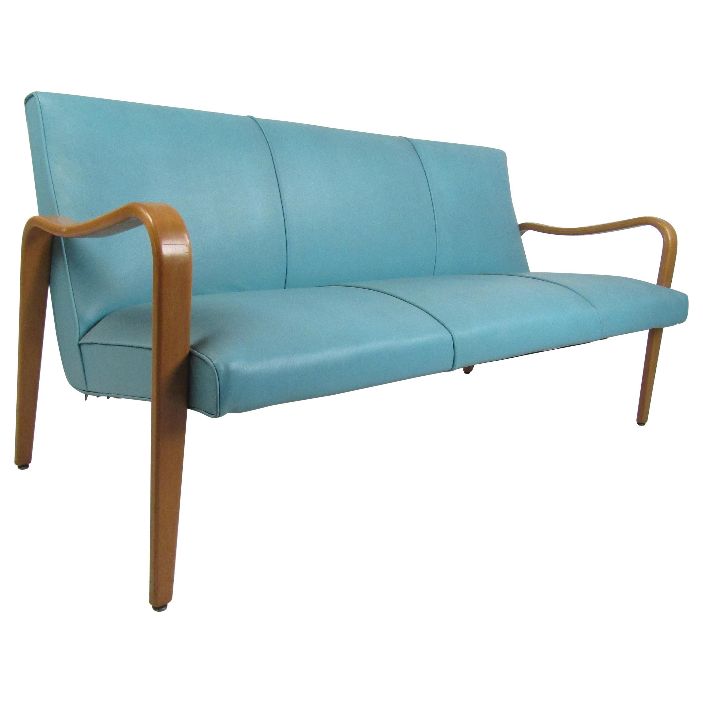 Mid-Century Modern Thonet Style Blue Sofa