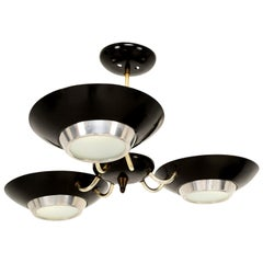 Mid-Century Modern Black Three-Light Ceiling Fixture Style Stilnovo 1960s