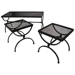 Mid-Century Modern Three-Piece Outdoor Set Cocktail Table