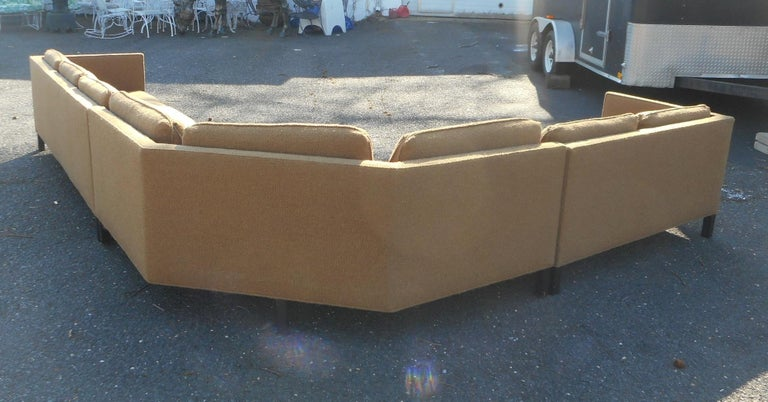 Upholstery Mid-Century Modern Three-Piece Sectional Sofa by Dunbar For Sale