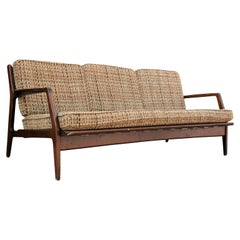 Mid-Century Modern Three-Seat Danish Walnut Color IB Kofod-Larsen Sofa COM