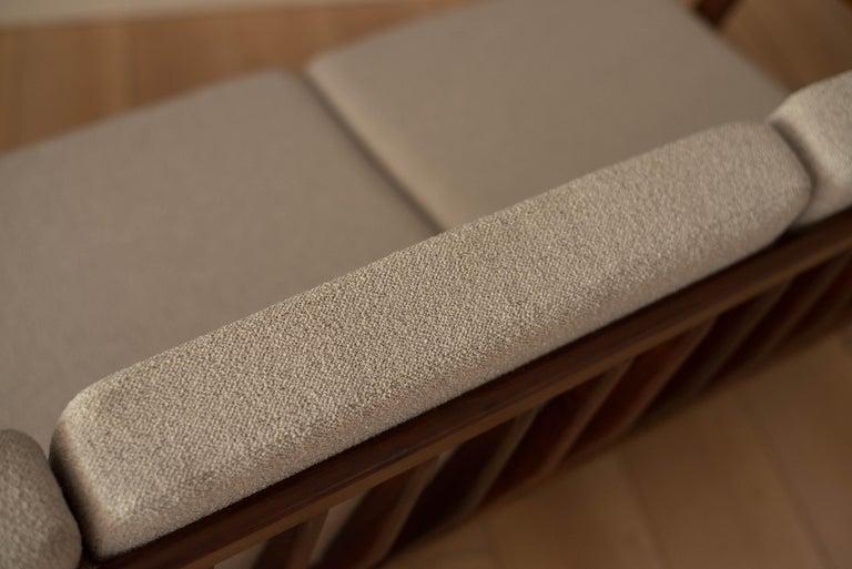 Mid-Century Modern Three-Seat Walnut Frame Sofa For Sale 4