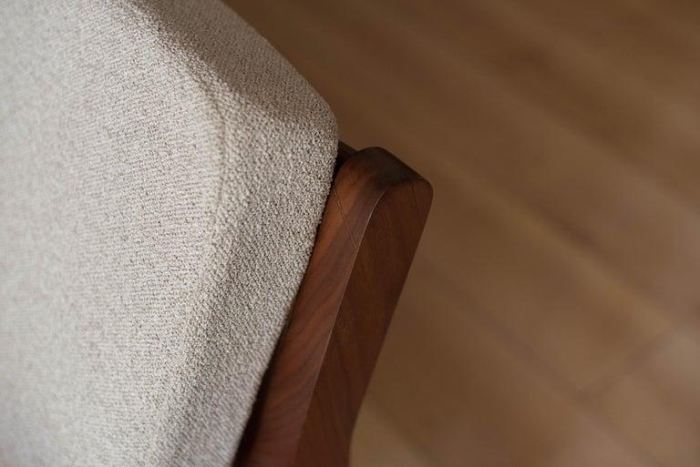 Mid-Century Modern Three-Seat Walnut Frame Sofa For Sale 6
