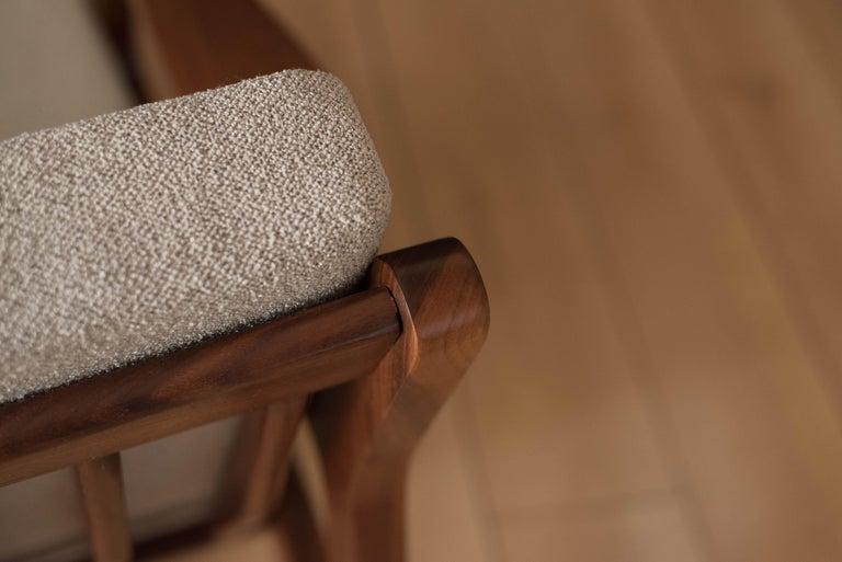 Mid-Century Modern Three-Seat Walnut Frame Sofa For Sale 7