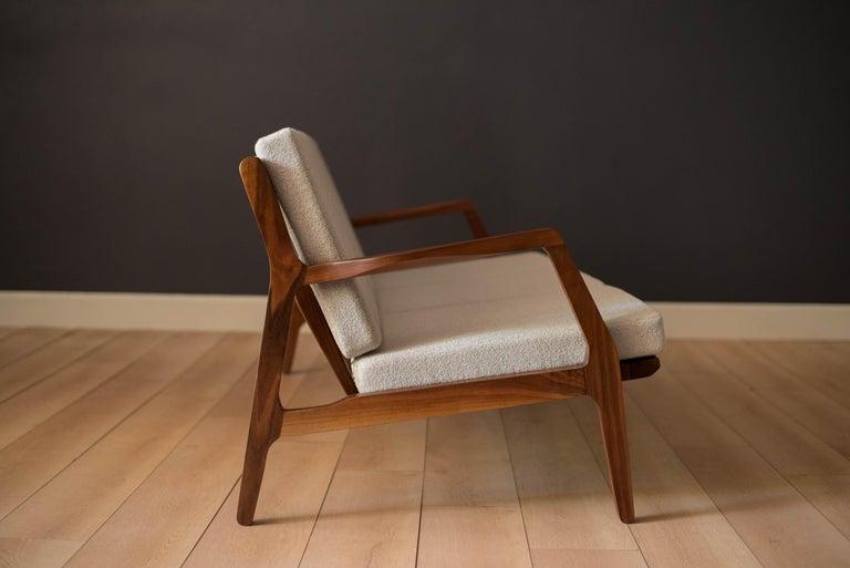 American Mid-Century Modern Three-Seat Walnut Frame Sofa For Sale