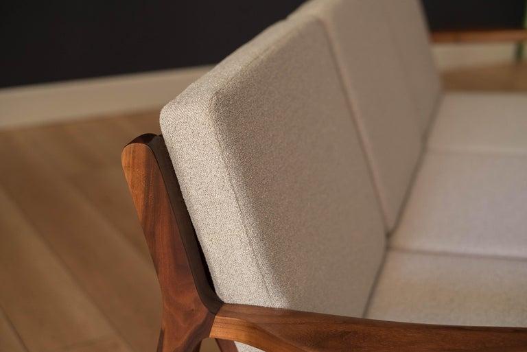 Mid-20th Century Mid-Century Modern Three-Seat Walnut Frame Sofa For Sale
