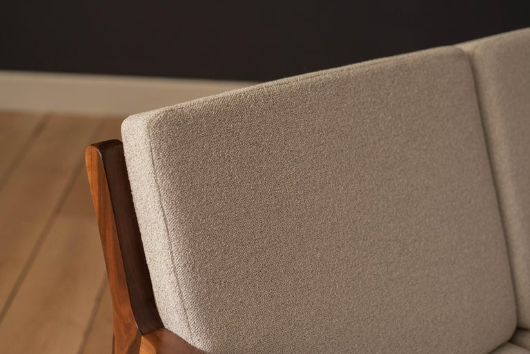 Bouclé Mid-Century Modern Three-Seat Walnut Frame Sofa For Sale
