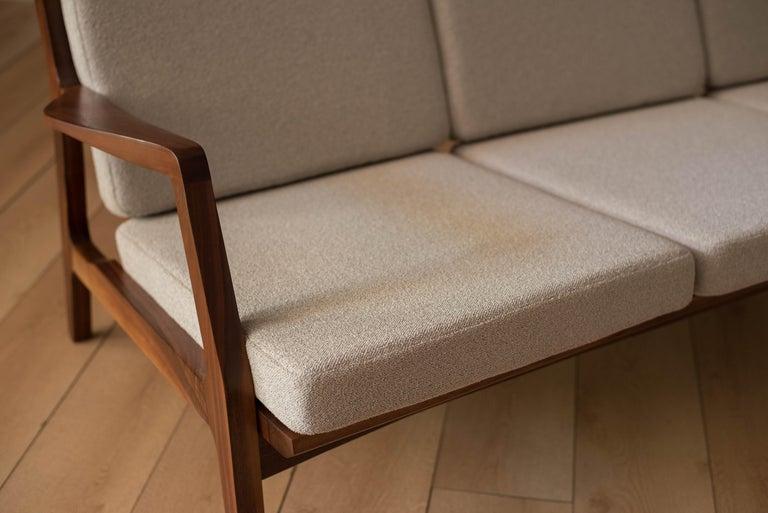 Mid-Century Modern Three-Seat Walnut Frame Sofa For Sale 1