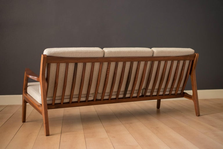 Mid-Century Modern Three-Seat Walnut Frame Sofa For Sale 2