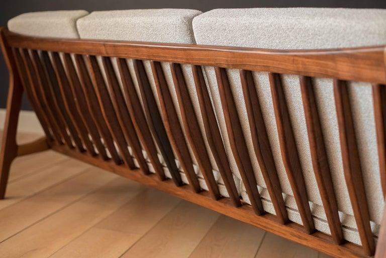 Mid-Century Modern Three-Seat Walnut Frame Sofa For Sale 3