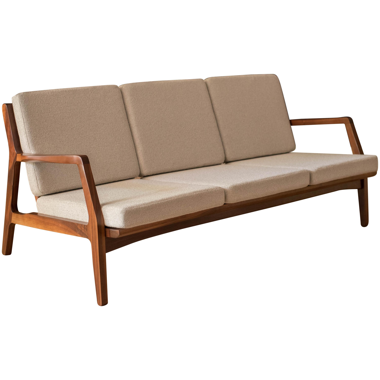 Mid-Century Modern Three-Seat Walnut Frame Sofa
