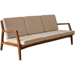 Mid-Century Modern Three-Seat Walnut Frame Sofa