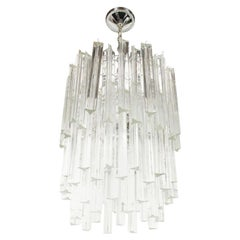 Mid-Century Modern Three-Tier Camer Crystal Chandelier with Chrome Fittings