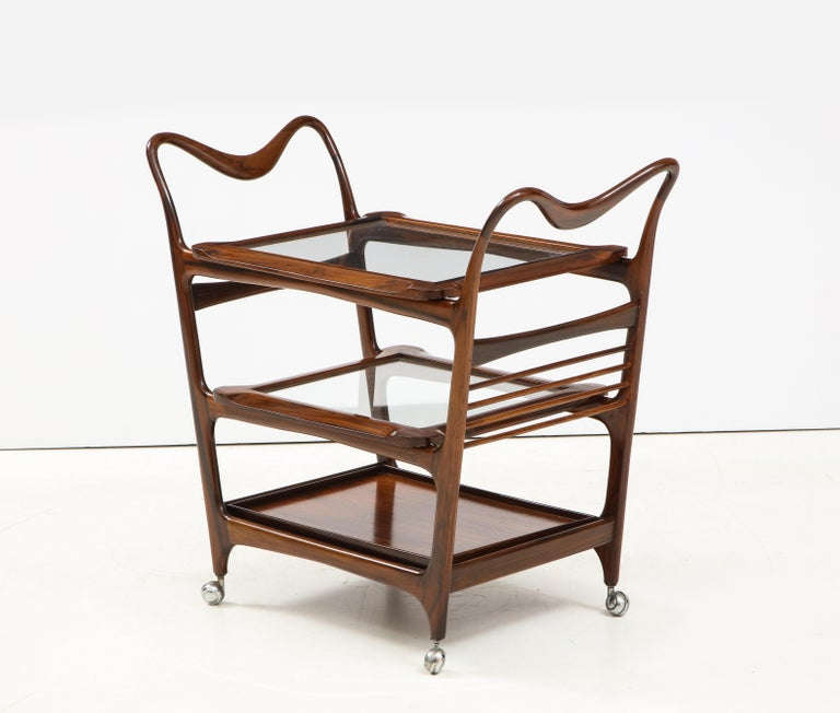 Mid-Century Modern Three-Tier Tea Cart by Teperman Manufacture, Brazil, 1950s For Sale 12