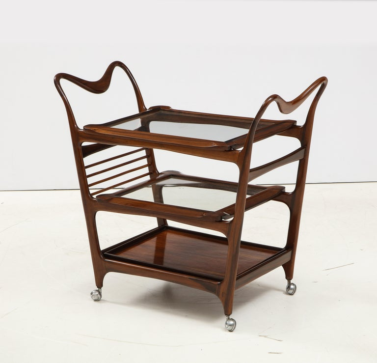 Mid-Century Modern Three-Tier Tea Cart by Teperman Manufacture, Brazil, 1950s For Sale 13