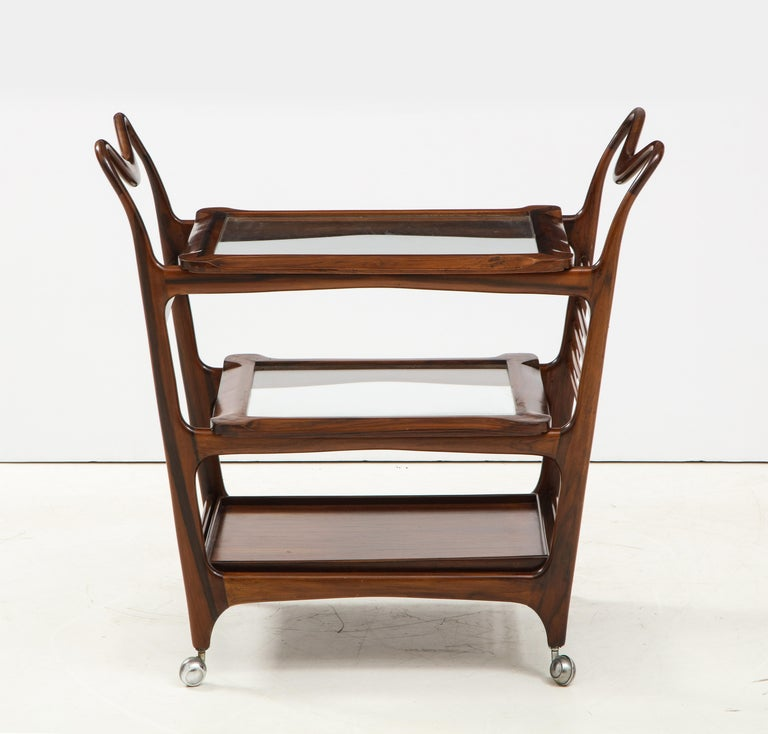 Brazilian Mid-Century Modern Three-Tier Tea Cart by Teperman Manufacture, Brazil, 1950s For Sale